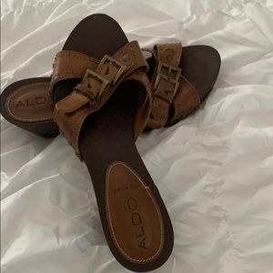 Aldo wooden and leather clog sandals